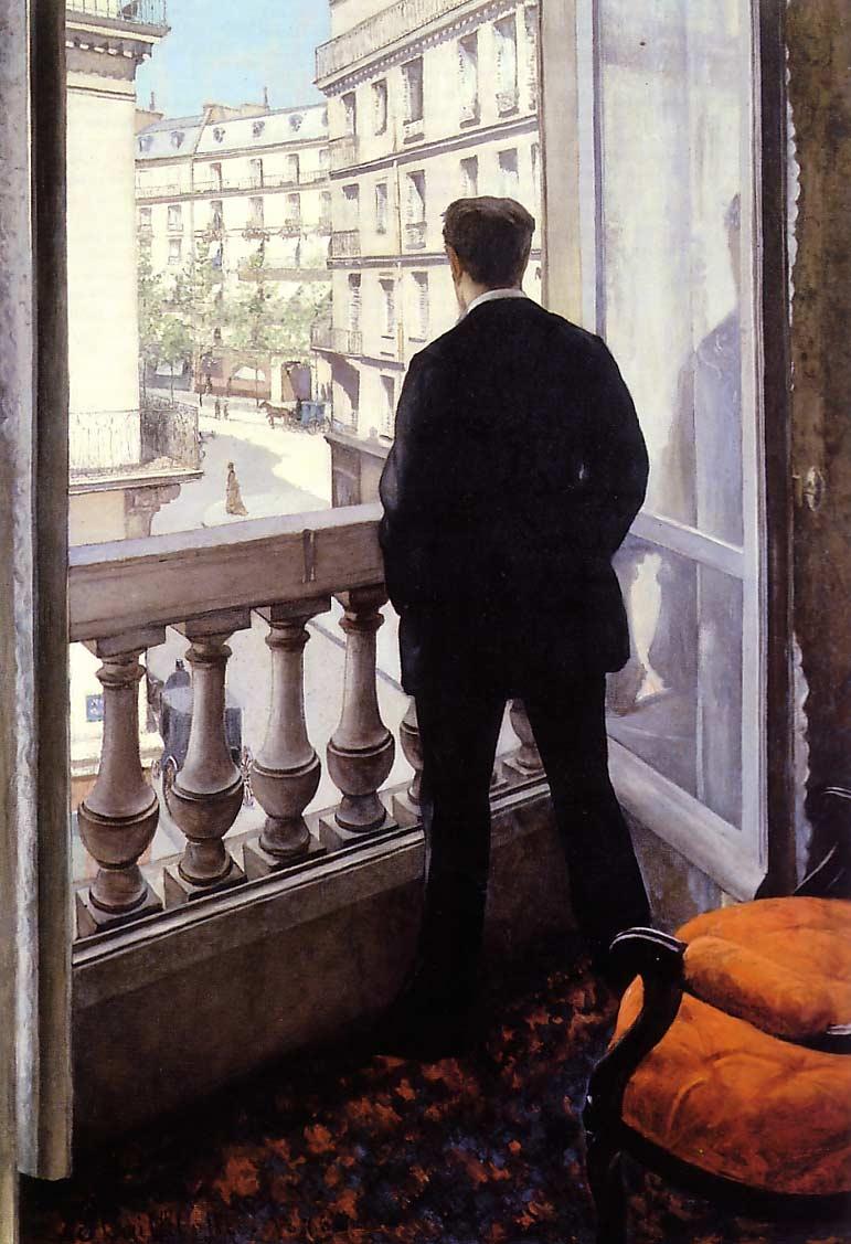 Jeune homme à sa fenêtre par Gustave Caillebotte